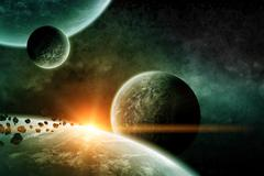 Stock Illustration of Meteorite impact on a planet in space