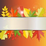 Shiny Autumn Natural Leaves Background. Vector Illustration - stock illustration