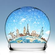 Monuments of the world in a snowball - stock illustration
