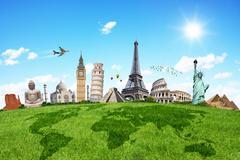 Illustration of famous monument on green grass - stock illustration