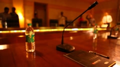 Microphone in a conference room Arkistovideo