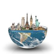 Monuments of the world in a glass of water Stock Illustration
