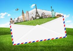 illustration of an envelope full of famous monument - stock illustration