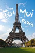 Love in Paris Eiffel Tower - stock illustration