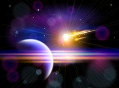 Stock Illustration of Magic Space - Large comet flying to the blue planet