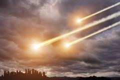 Meteorite impact on a planet in space - stock photo