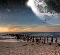 Beach planet landscape - stock photo