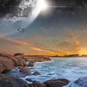 Beach planet landscape Stock Photos