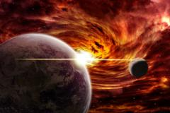 Meteorite impact on a planet in space Stock Illustration