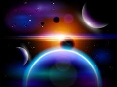 Magic Space - planets, stars and constellations, nebulae and galaxies, lights - stock illustration