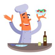 Cartoon chef holding plate with salad Stock Illustration