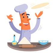 Cartoon chef making pizza dough Stock Illustration