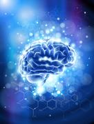 Brain & chemical formulas - blue technology concept - stock illustration