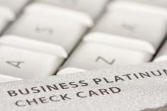 Business Credit Card On Laptop with Narrow Depth of Field - stock photo