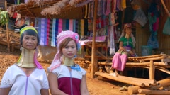 Thailand, Long Neck Women Stock Footage