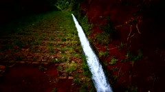 4K Portugal Madeira Levada mini-canal water-canal carriageway Stock Footage
