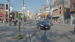 Queen West Toronto Peter St Intersection Wide Stock Footage