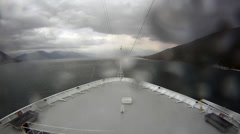 Bow point of view time-lapse ship sailing into bay Stock Footage