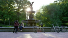 Ladies Tourists Central Park Bethesda Fountain Statue Slow Motion 4K NYC - stock footage
