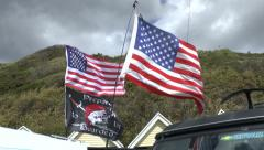2 American Flags And Be Prepared To Be Boarded Flag Stock Footage