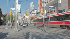 Queen West Toronto Peter St Intersection Stock Footage