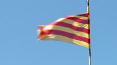 Catalan flag in the wind - stock footage