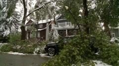 Snowstorm disaster, snow damaged tree, buried SUV Stock Footage