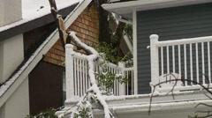 Snowstorm disaster, snow damaged tree, damaged balconey Stock Footage