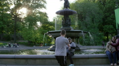 Tourists Smartphone Pictures Central Park Fountain Statue Slow Motion 4K NYC Stock Footage