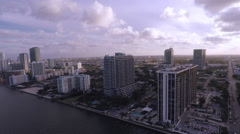 Miami midtown bay aerial drone Stock Footage