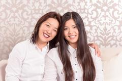 Mommy and daughter together - stock photo