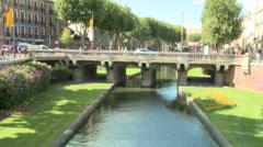 Bridge over river in Perpignan, France Stock Footage