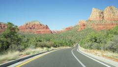 Driving towards Twin Buttes, Sedona, Arizona - stock footage