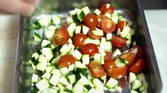 Stock Video Footage of Food, Salting tomatoes and zucchini to grill