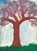 Stock Illustration of Original scanned child picture of cherry tree (sakura, almond tree)