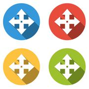 Collection of 4 isolated flat buttons for move arrows - stock illustration