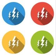 Collection of 4 isolated flat buttons for lightning bolt Piirros