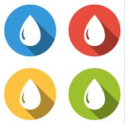 Collection of 4 isolated flat buttons for drop of water, oil, gas, petrol - stock illustration