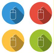 Collection of 4 isolated flat buttons for mouse with short wire - stock illustration