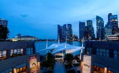 Singapore Skyline at Dusk on the Esplanade - stock photo