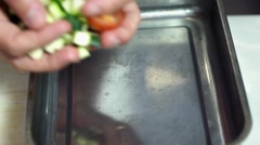 Stock Video Footage of Food, Prep and putting tomatoes and zucchini to grill in metal tray