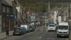 Scottish Borders town of Peebles - static view of High Street Stock Footage
