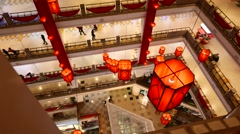 Mall atrium, top view on the floors balcony, people walking on different levels Stock Footage