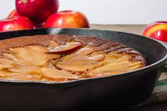 Skillet apple cake with apples - stock photo