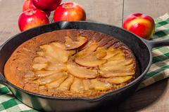 Skillet apple cake with apples Stock Photos