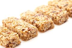 Row of Several Granola Bars Isolated on White - stock photo
