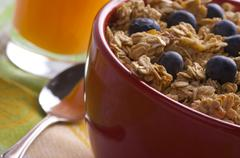 Bowl of Granola and Boysenberries Stock Photos