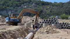 Work on laying Sewerage. Thailand - stock footage