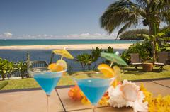 Tropical Drinks on the Lanai. - stock photo