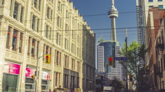 Toronto Queen West CN Tower Intersection Timelapse Medium Stock Footage